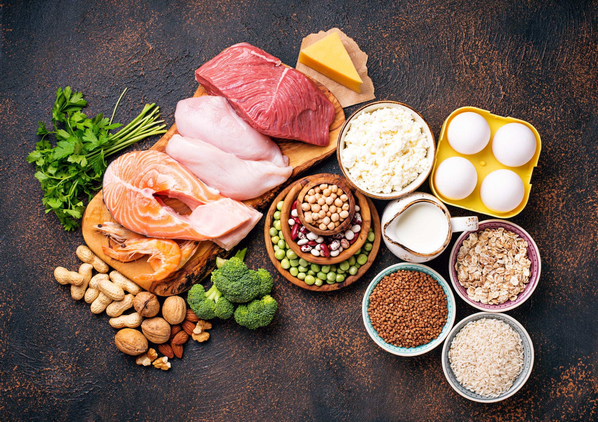 display of Healthy Foods High In Protein